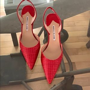 Manikin Blahnik Red Rafia leather pumps